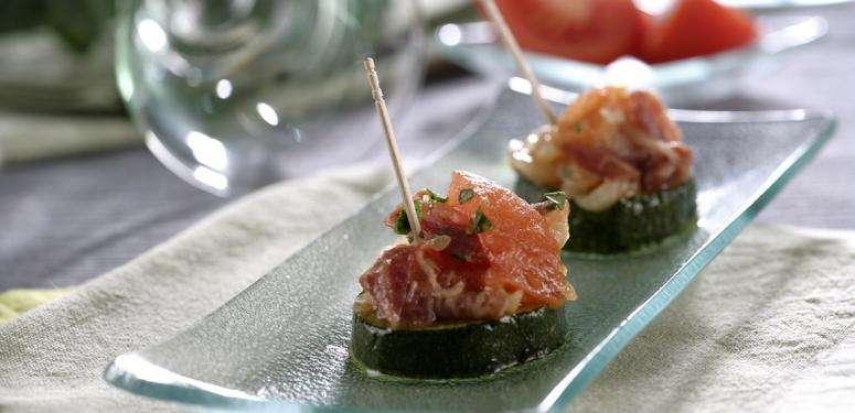 abobrinhas com tomates e bacon